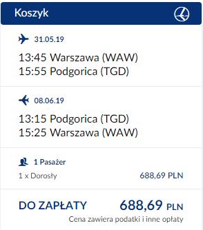 Połączenie Warszawa - Podgorica oferowane przez PLL LOT