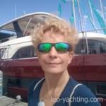Autorka artykułu na stoisku Lagoon na Salone Nautico w Genui