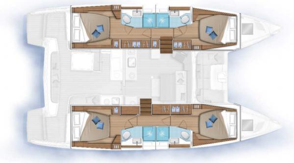 Lagoon 46 - kabiny i łazienki