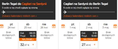 Czarter jachtów Sardynia - lot Berlin - Cagliari