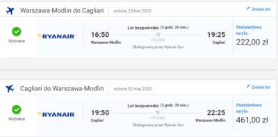 Czarter jachtów Sardynia - lot z Warszawy do Cagliari