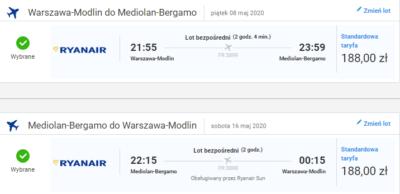 czarter jachtów Włochy, lot Warszawa-Bergamo