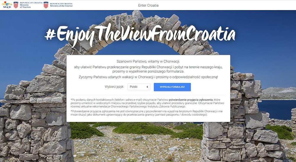 Zarejestruj swój przyjazd do Chorwacji