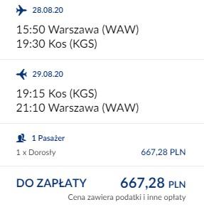 lot Warszawa - Kos 29/08 - 05.09.2020