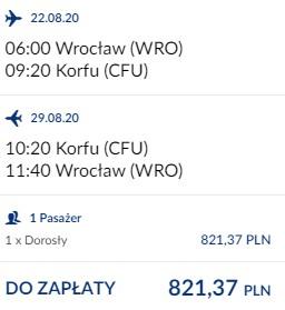 lot Wrocław – Korfu 22.08-29.08.2020