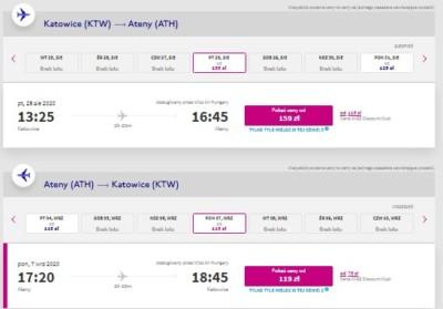 lot Katowice - Ateny 28.08-07.09.2020