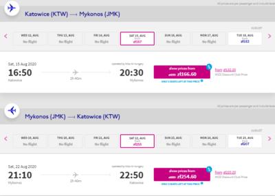 lot Katowice - Mykonos