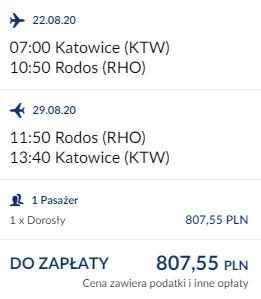 lot Katowice - Rodos