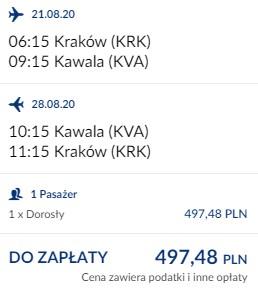 lot Kraków - Kawala 21.08-30.08.2020
