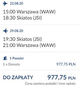 lot Warszawa - Skiatos 22-29.08.2020