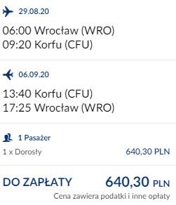lot Wrocław - Korfu 29.08-05.09.2020