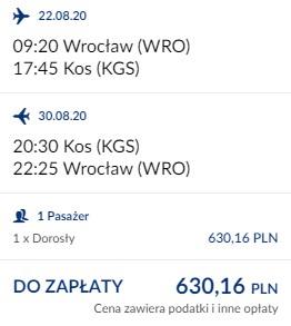 lot Wrocław - Kos 22.08-30.08.2020