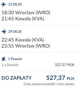 lot Wrocław - Kawala