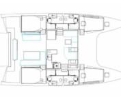 Nautitech 46 Fly - rzut wnętrza