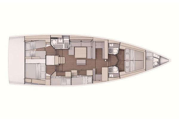 Dufour 530 6 kabin