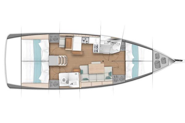 jacht Sun Odyssey 440 - wszystkie koje płaskie