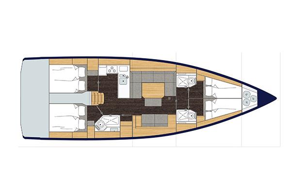 jacht Bavaria C45 - rzut wnętrza