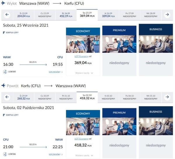 PLL LOT Warszawa - Korfu w soboty i w inne dni tygodnia