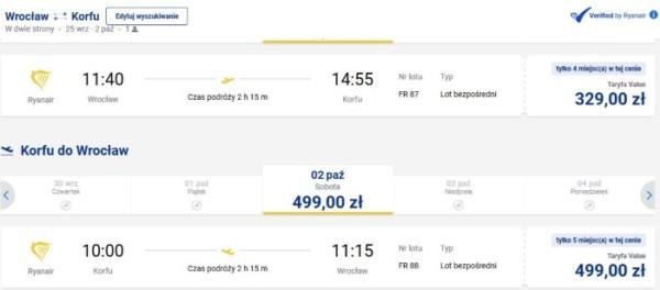 lot Wrocław - Korfu w soboty